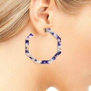 Lilac and White Hoop Earrings